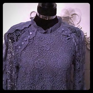 NWT Lace Lined Long Sleeved Blouse